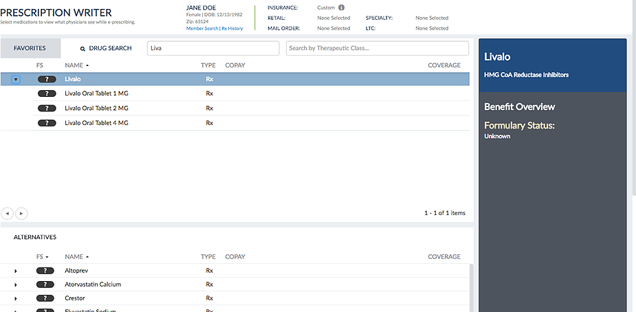 Figure 1: Sample EHR View without Formulary and Benefit Alternatives