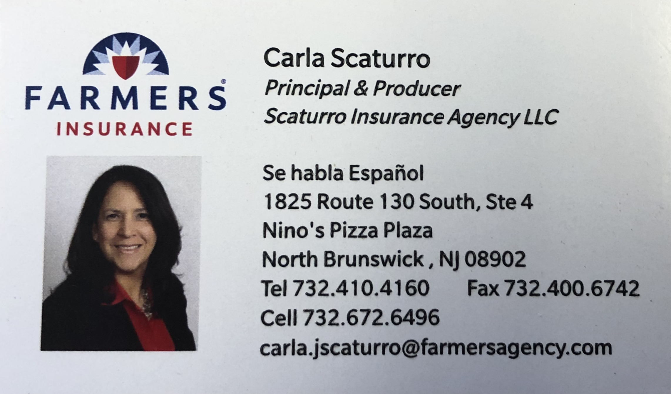 """Carla Scaturro - Farmer's Insurance Agent for Scaturro Insurance Agency LLC, """"As your local Farmers® agent in North Brunswick, New Jersey, I help customers like you identify the insurance coverage that best fits your needs. This process is straightforward and personalized to help make you smarter about insurance. I have over 25 years of knowledge and experience to help you better understand your coverage options--whether that's auto, home, renters, business insurance and more""""."""