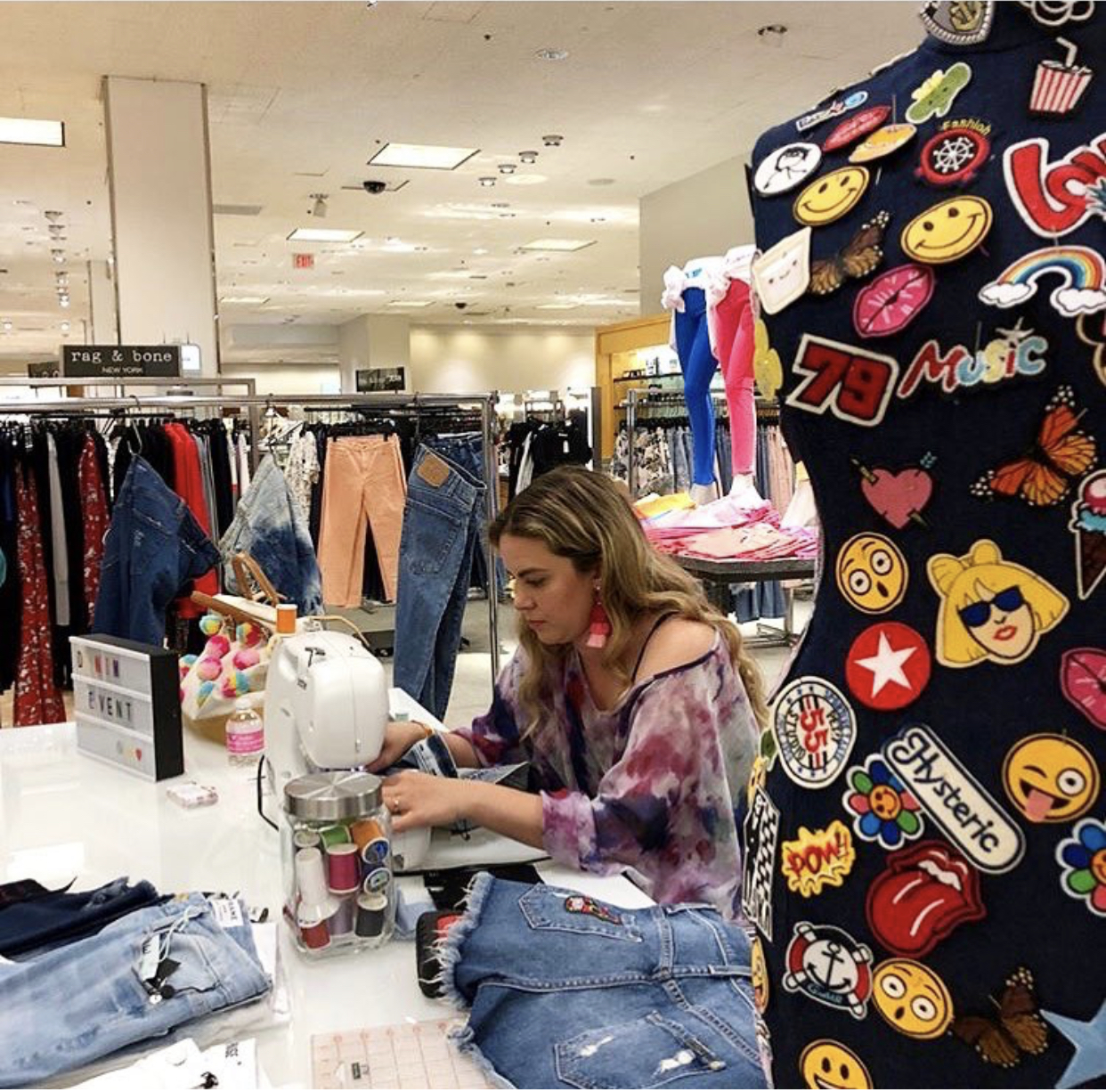 Me working during an in store denim collaboration with Bloomingdales.