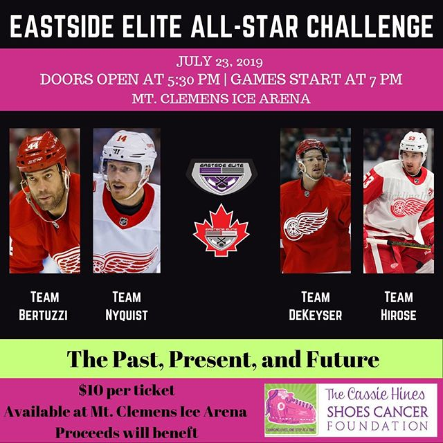 🎟🎟Tickets now available at Mt. Clemens Ice Arena🎟🎟 👀Come see the @esehockey All-Stars along with special guest @c_4owler 👀  Proceeds to benefit @cassiehinesshoescancer