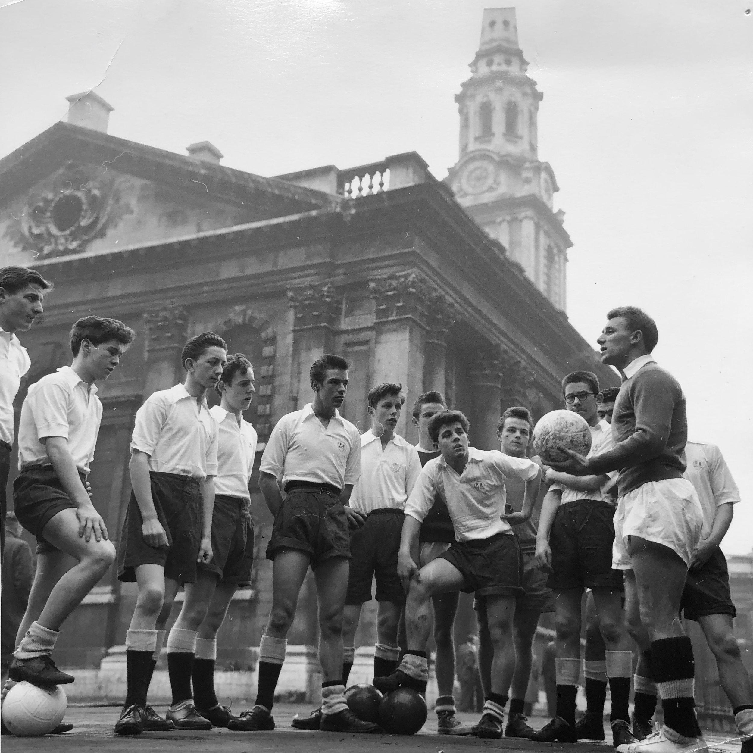 Former Manchester United Manager, Tommy Docherty & PM Club Boys Football Team (circa 1955)