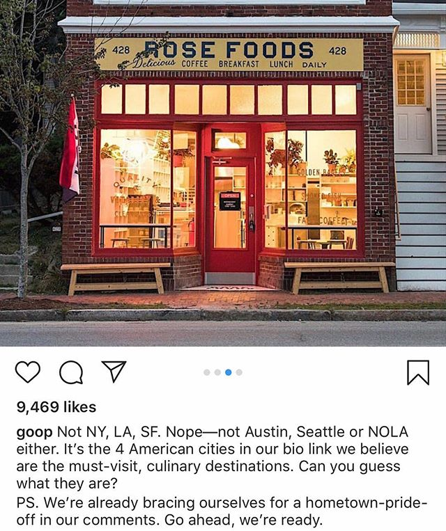 @goop recently wrote about Portland's amazing food scene! All of our rental property's are super close to the restaurants they mention and our newest property in Cape Elizabeth is just a short drive toCrescent beach, which was also highly recommended by @goop! Check out the article, link in bio!