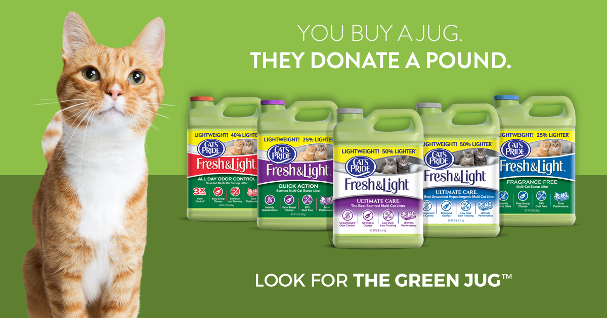 Help Cat's Pride Help HSYC! - For every green jug of Cat's Pride® Fresh & Light® bought, Cat's Pride will donate a pound of litter to help shelter cats across the country. Head over to Catspride.com/litterforgood today and nominate our shelter to receive free litter - the more nominations the more litter we are eligible to receive! Thanks for all the support!