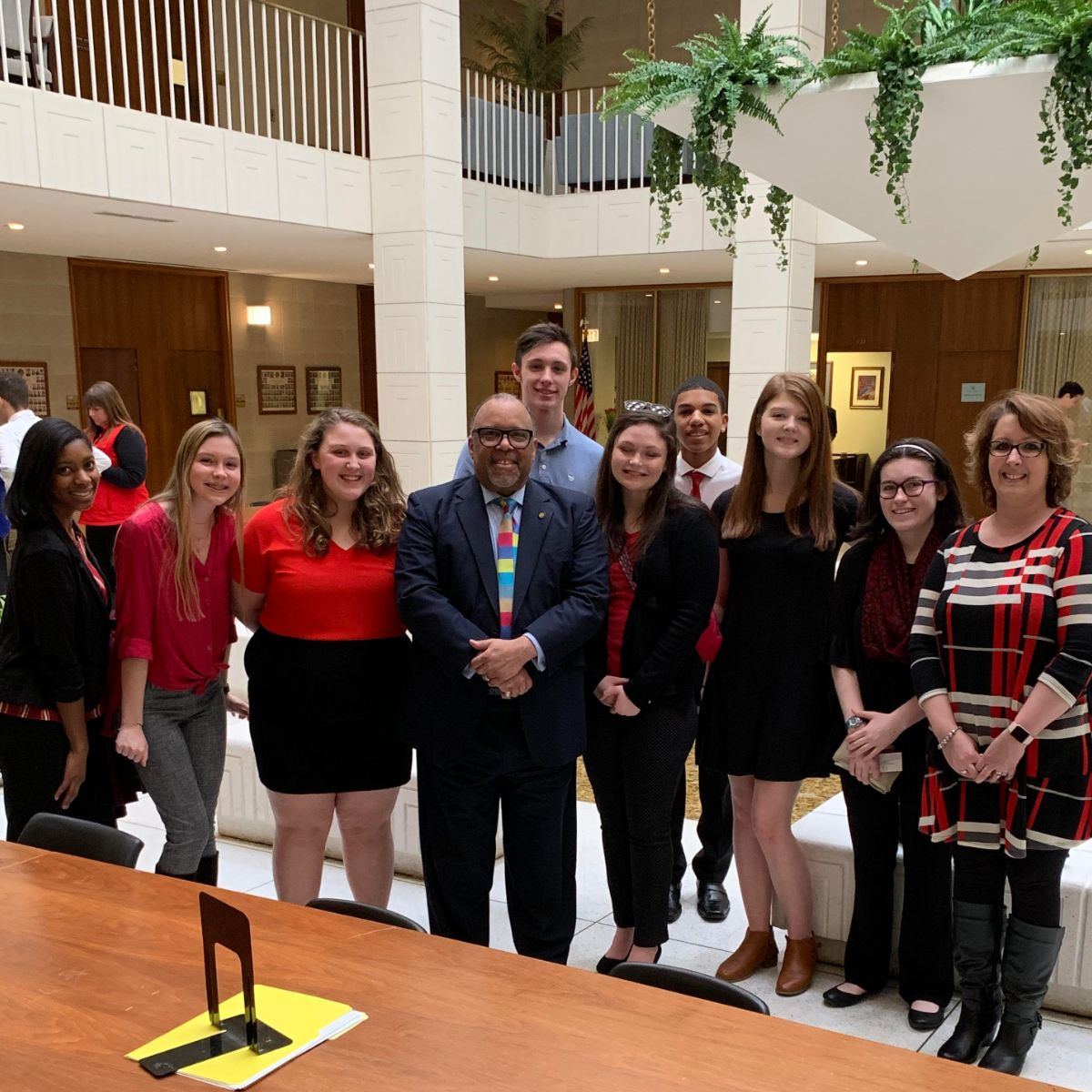 """Office Visit - Senator Lowe was pleased to get a visit from the East Forysth County High School """"Teacher Cadets""""."""