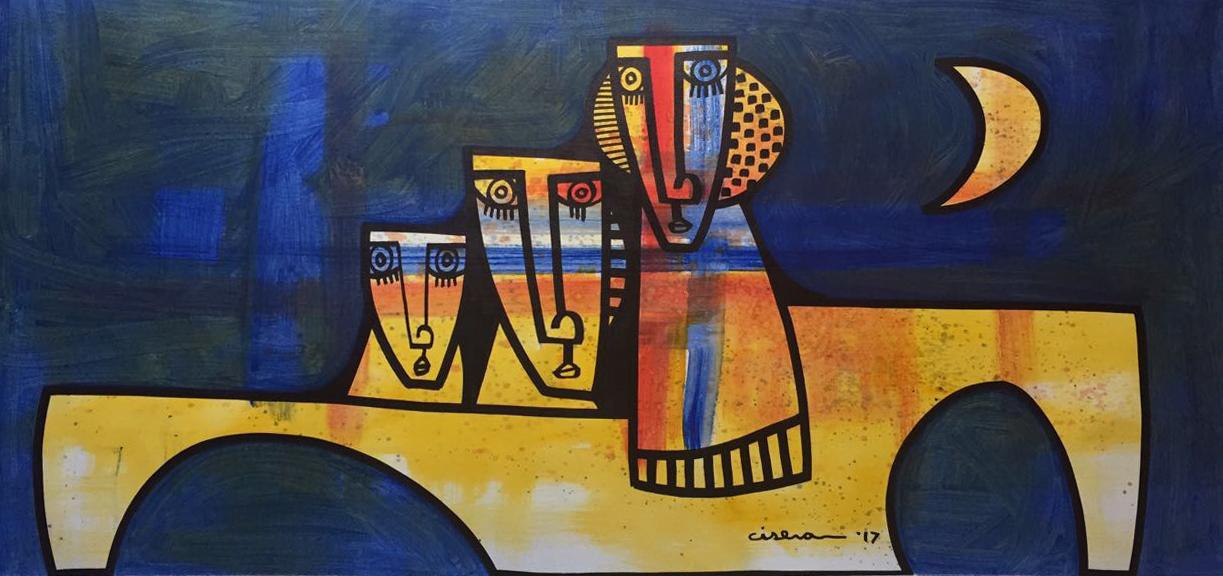 """Trio y Luna - Oil on Canvas  29"""" x 61"""""""