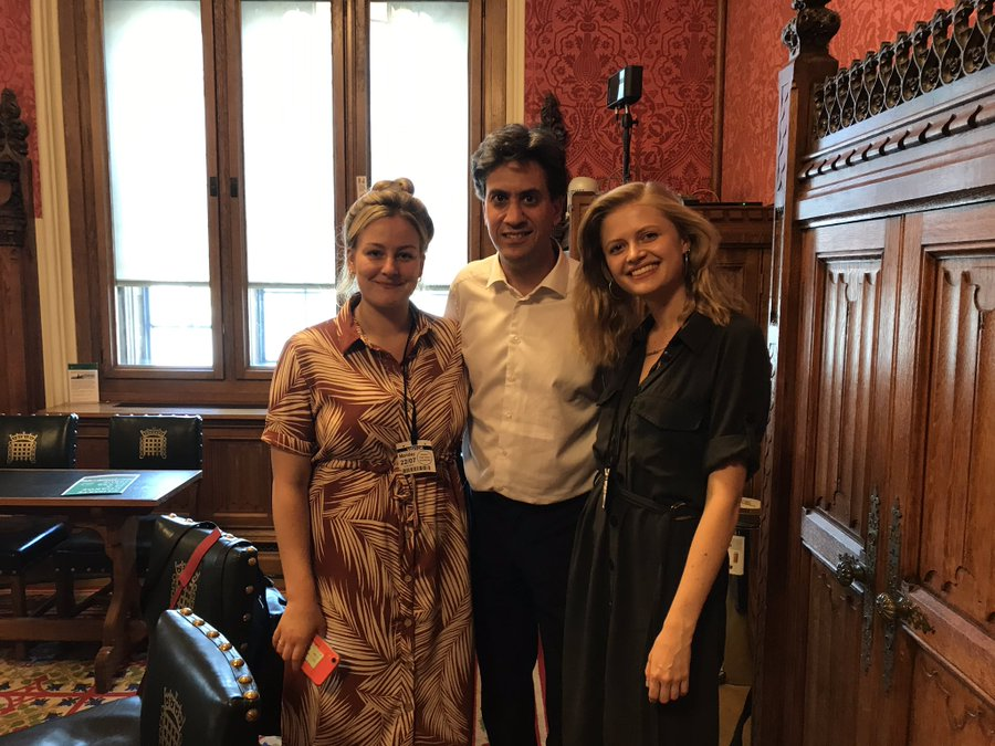 Lauren Townsend, Ed Milliband and Claire Hymer at the launch