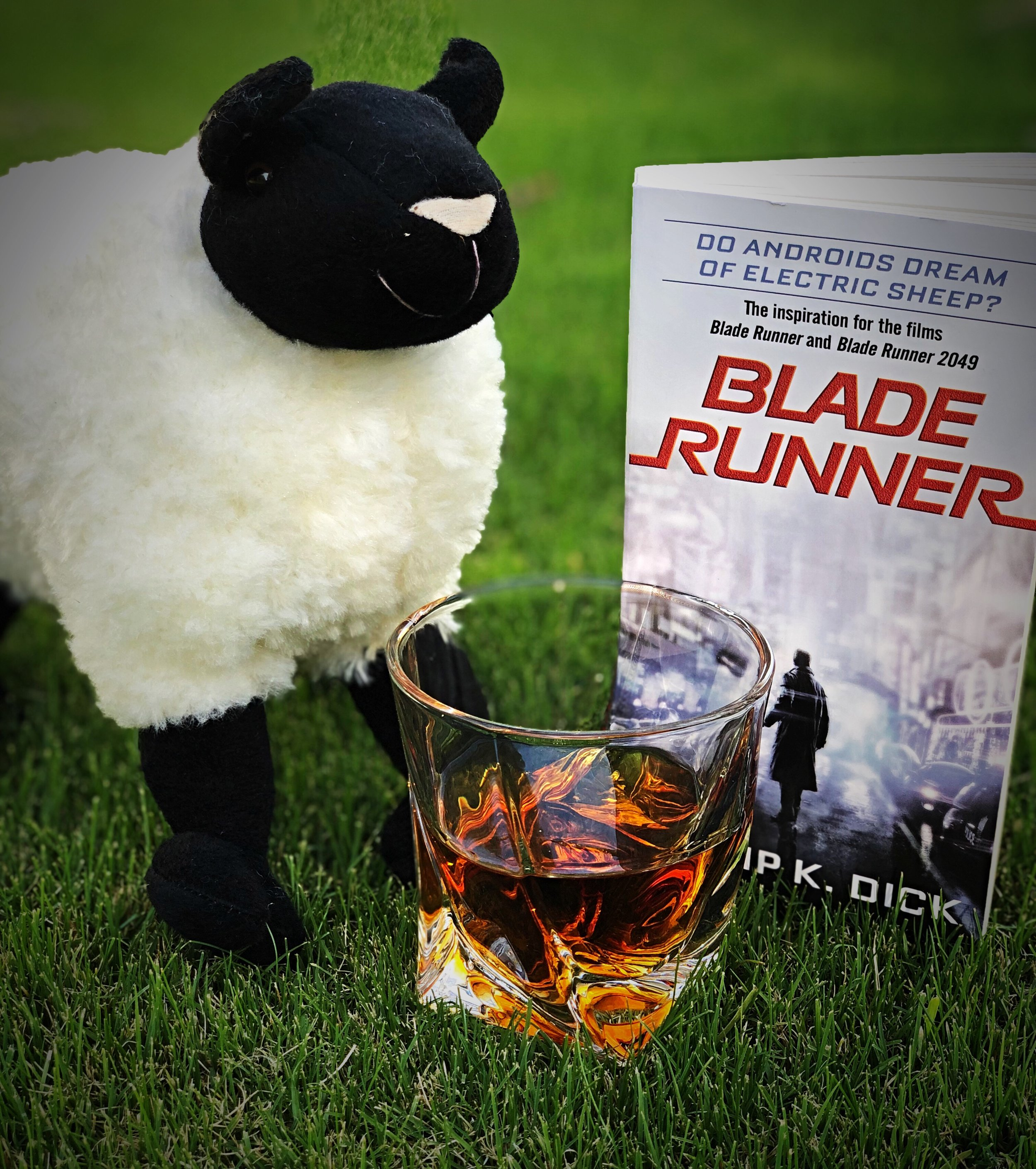 Bourbon, neat, just like Deckard drinks with Rachael in Do Androids Dream of Electric Sheep, by Philip K. Dick.
