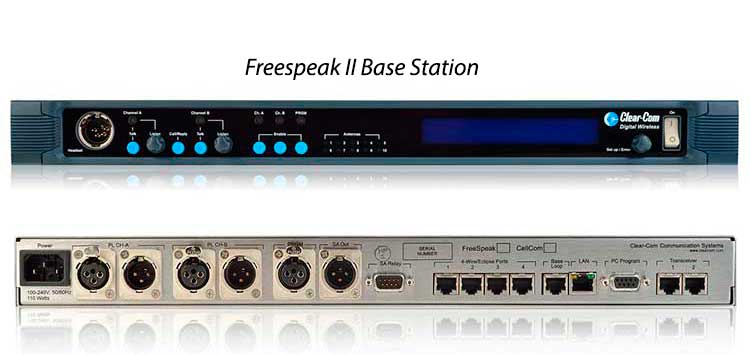 ClearCom Freespeak Base Station - The Clear-Com FSII-BASE-II is a base station for the wireless FreeSpeak II 1.9GHz and 2.4GHz active transceiver and beltpacks with four 2-wire analog partyline connections, four 4-wire audio connections and four digital displays with soft keys. The base station can operate a mix of up to 5 1.9GHz and/or 2.4 GHz beltpacks on a single system. The base station can be used in Main Station mode with Talk and Call soft keys or as a Headset Station for communication and monitoring from the panel.The base station's digital displays allow easy system configuration directly from the base station or through the browser-based Core Configuration Manager tool.