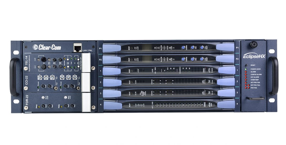 ClearCom Freespeak Delta Frame - The Eclipse HX-Delta is a three rack unit (3RU) matrix intercom system frame provided with 2 Central Processing Unit (CPU) cards and 2 external power supplies. The frame has slots for 4 I/O interface cards and 3 interface modules. This compact matrix frame offers the potential to connect users over dedicated CAT5, IP infrastructures (LAN, WAN and Internet), Fiber networks and integrate wireless beltpacks. The HX-Delta can also interface with external sources including 4-wire audio, partylines, telephone lines and MADI, all of which can be seemlessly routed to user key panels or beltpacks. Up to 64 Eclipse HX matrices can be connected to form a single networked installation.