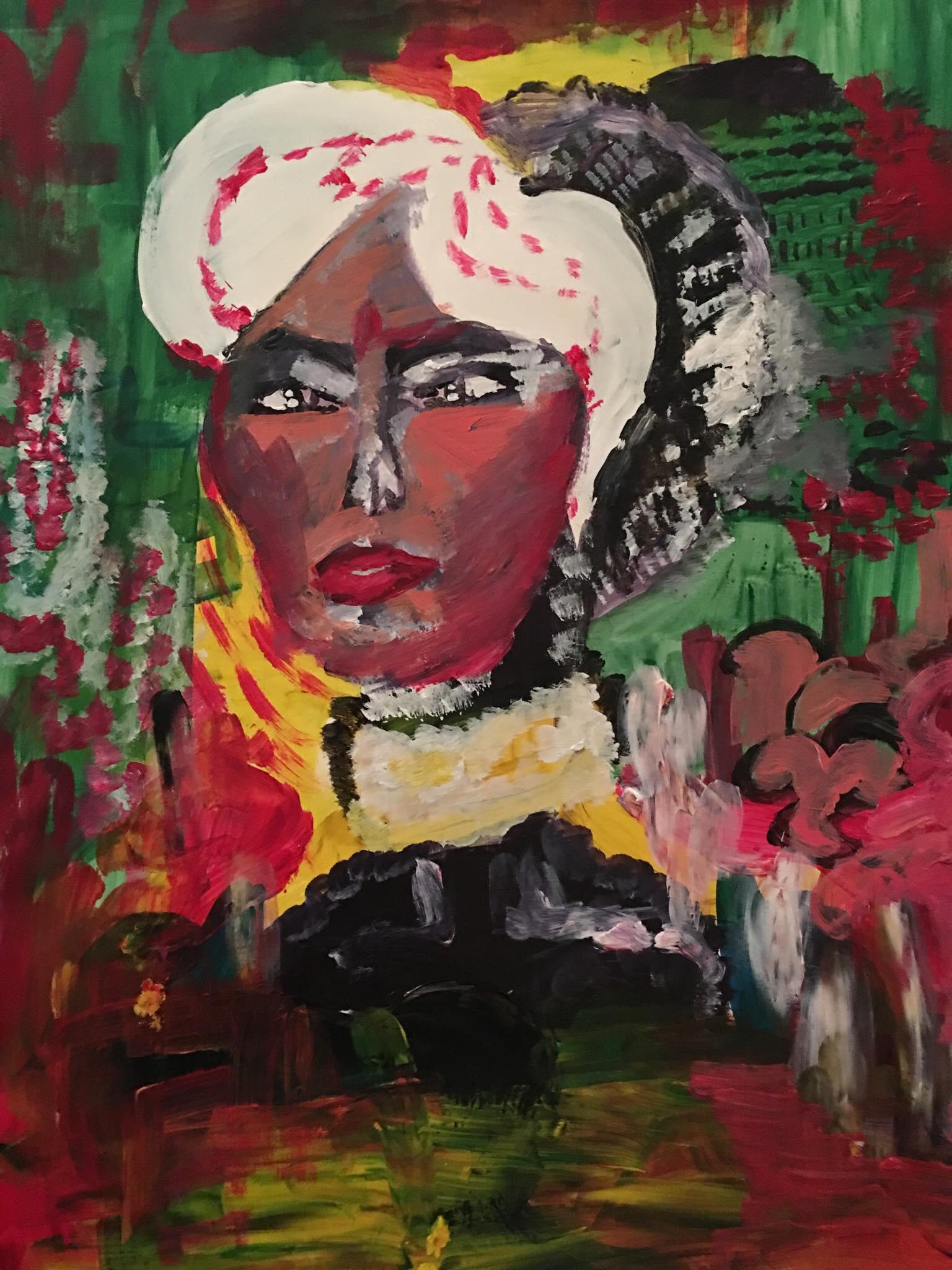 Marylin, 2018, 20''x34'', acrylics