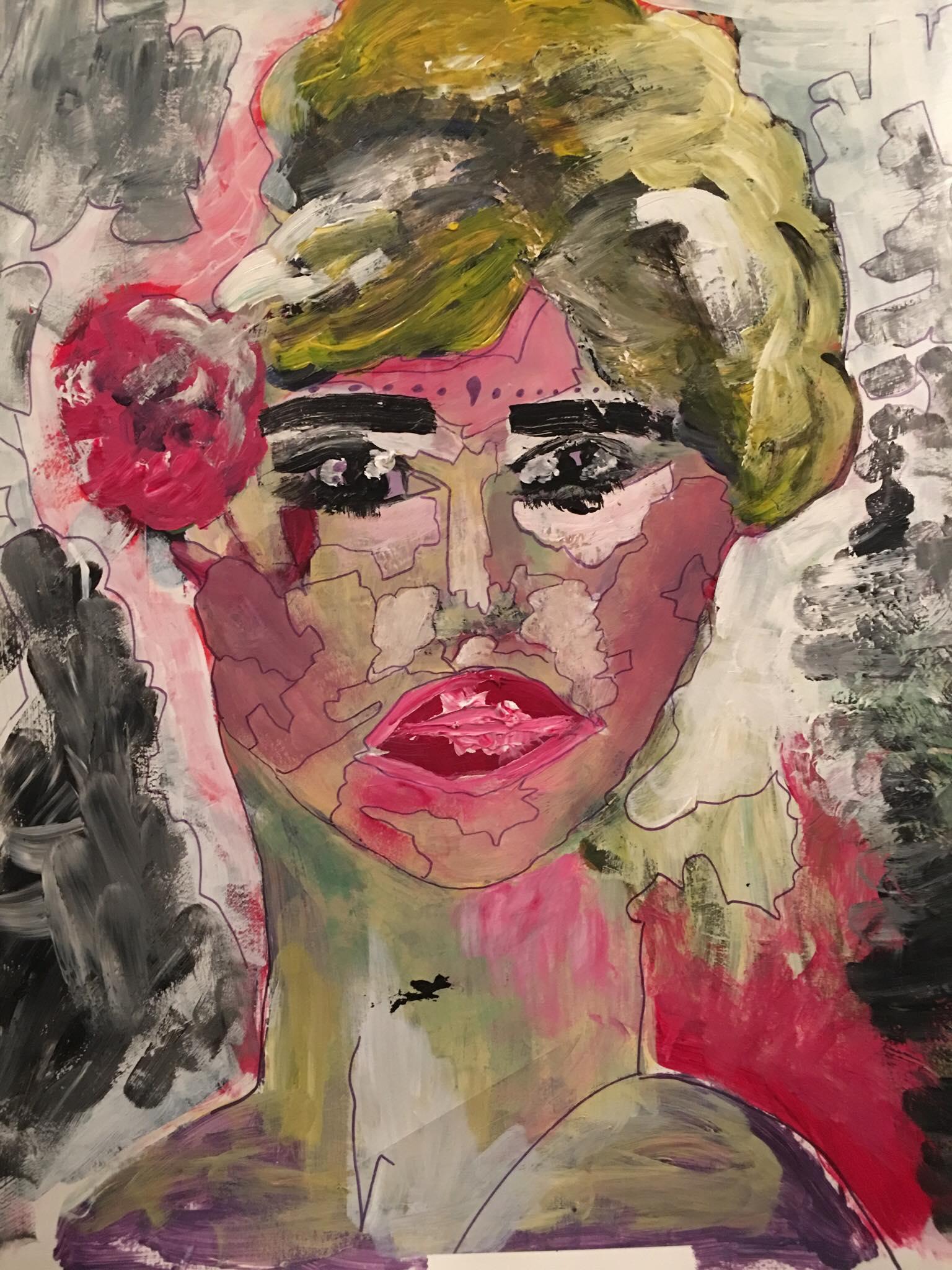 Brigitte, 2018, 15''x25'', acrylics