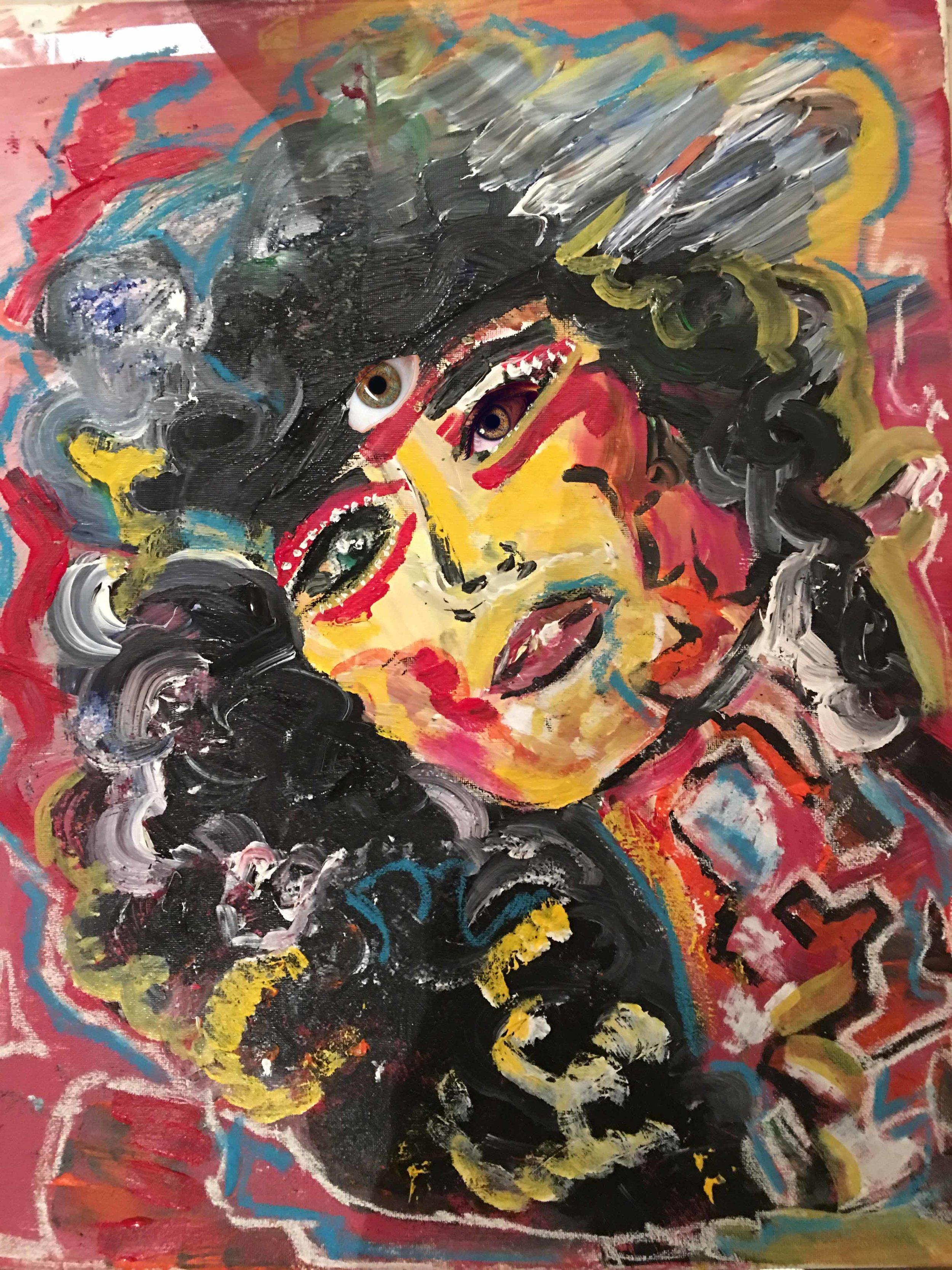 Disco girl, 2017, A4, acrylics