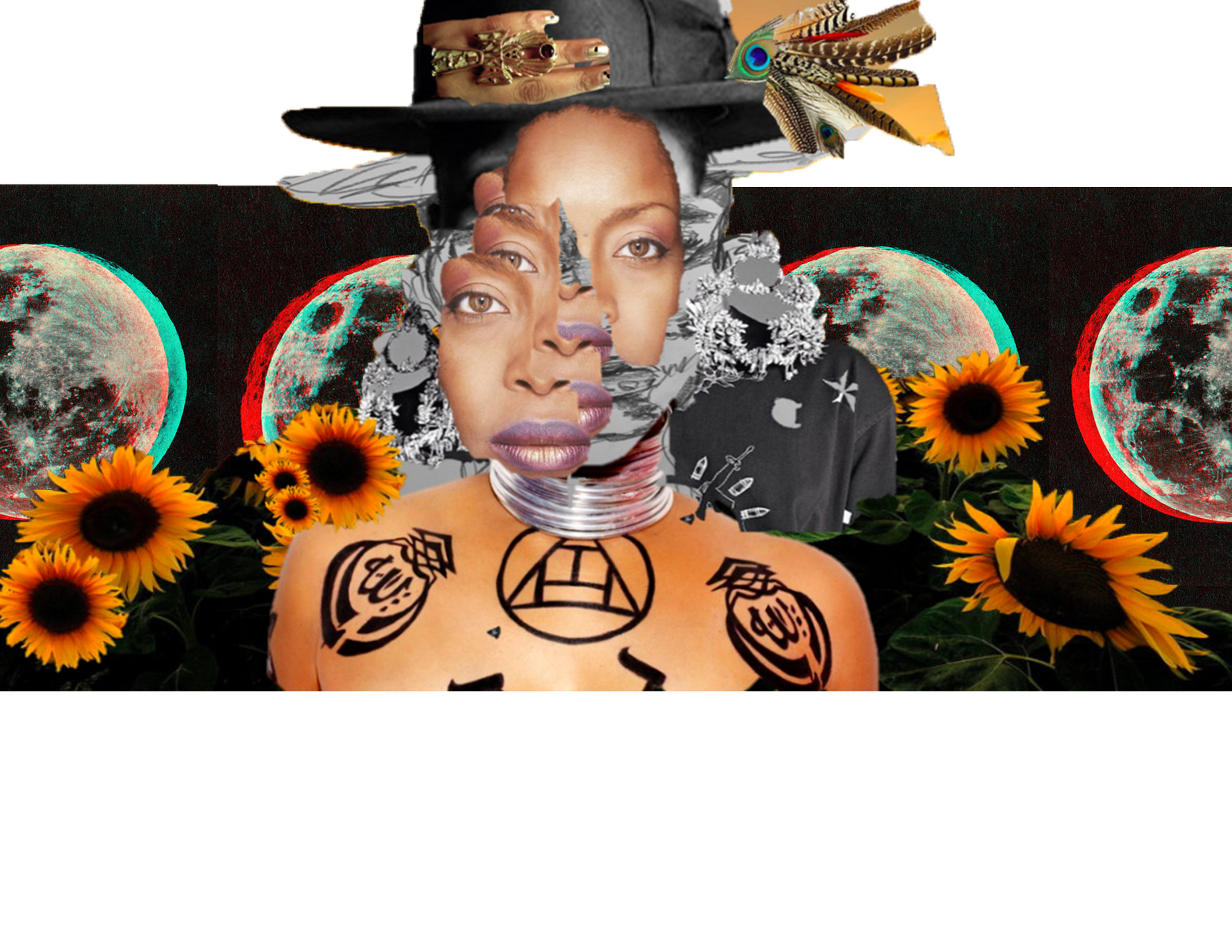 Erykah, collage, 2018, mixed media, digital
