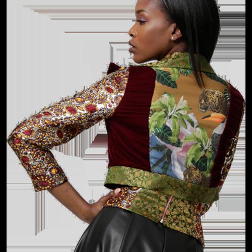 Handmade Jacket & Skirt, Artwork printed on silk