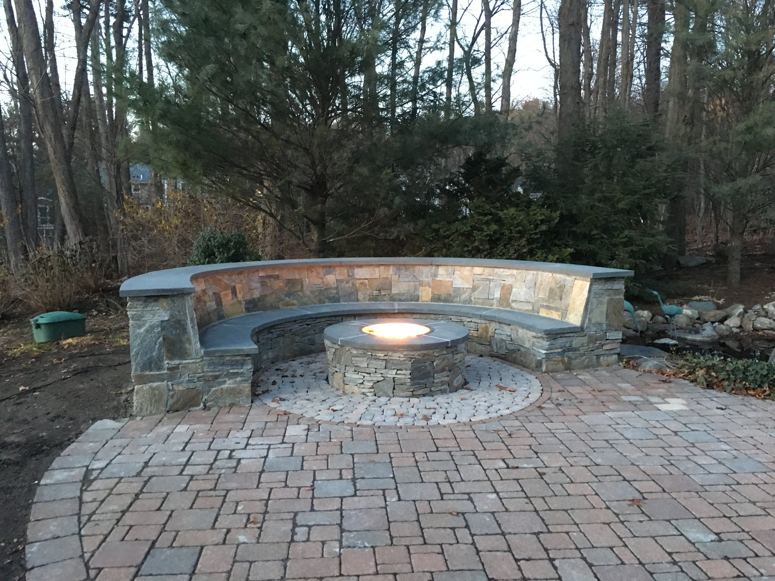 Fire pits, stone walls, patio