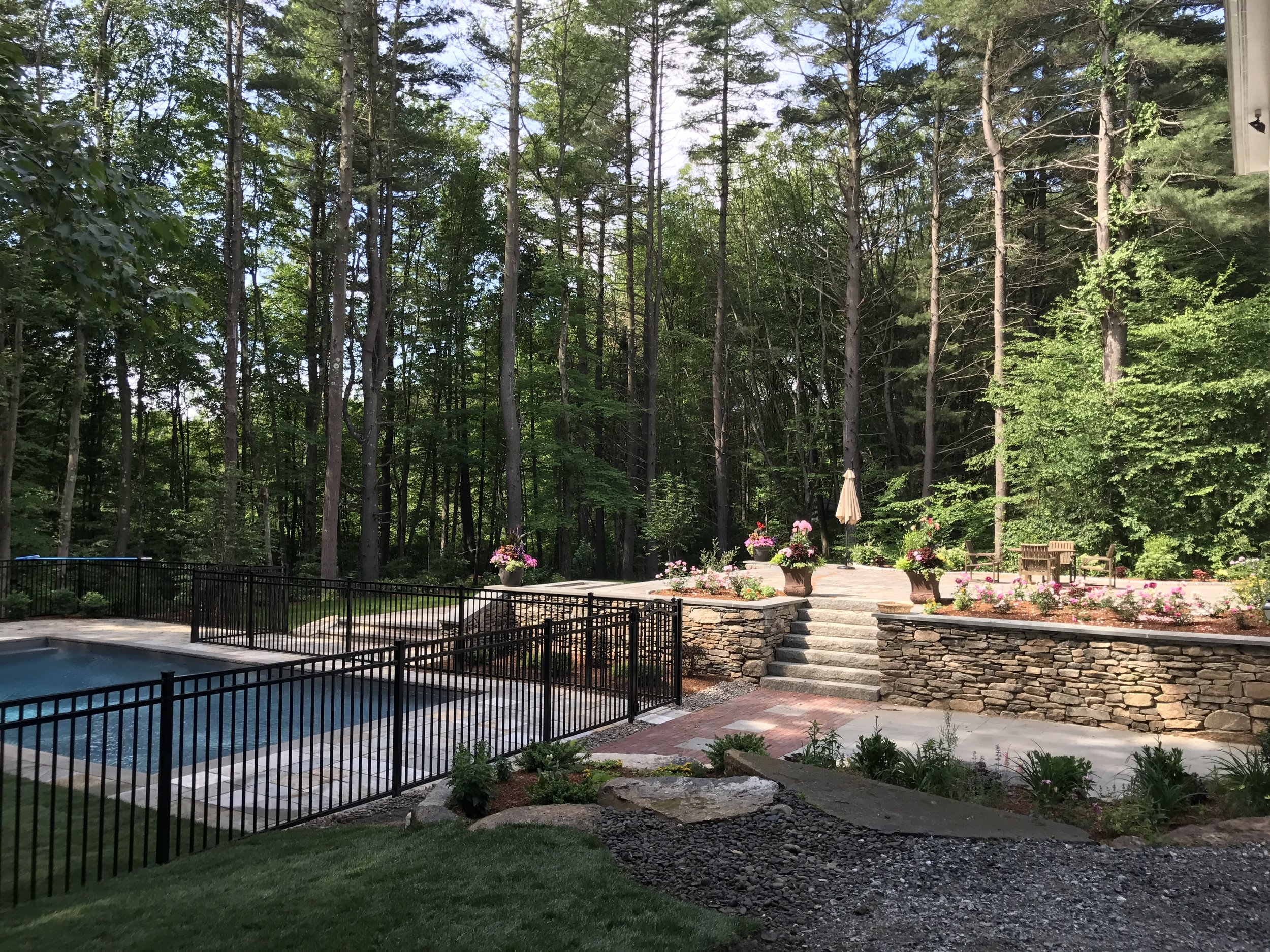 Pool, patio, lawn maintenance, lawn care, plantings