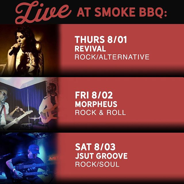 This weekend we have some of our favorite musicians returning to perform. So start your weekend early and drop in to get some food and drinks while you listen to some great local artists.  Thursday 08/01 Revival Rock/Alternative 10:00 P.M.  Friday 08/02 Morpheus Rock & Roll 10:30 P.M.  Saturday 08/03 Just Groove Rock/Soul 10:30 P.M.