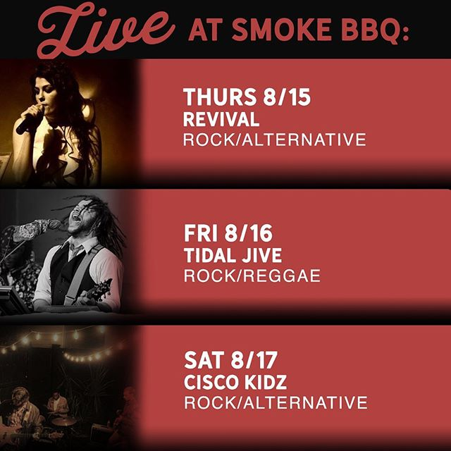 Air Conditioning, BBQ, live music, and drinks make the ultimate combo for this August scorcher. We have some great musicians playing this week. Take a look below for our music lineup.  Thursday 08/15 Revival Rock/Jams 10:00 P.M.  Friday 08/16 Tidal Jive Rock/Reggae 10:30 P.M.  Saturday 08/17 Cisco Kidz Rock/Alternative 10:30 P.M.