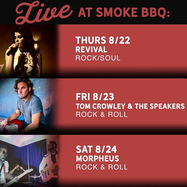 Free, live music three days in a row? Sounds like a great way to get ready for the weekend. Oh, and you probably want to get some delicious Q and drinks too 😉! See you soon!  Thursday 08/22 Revival Rock/Soul 10:00 P.M.  Friday 08/23 Tom Crowley & the Speakers Rock & Roll 10:30 P.M.  Saturday 08/24 Morpheus Rock/Alternative 10:30 P.M.