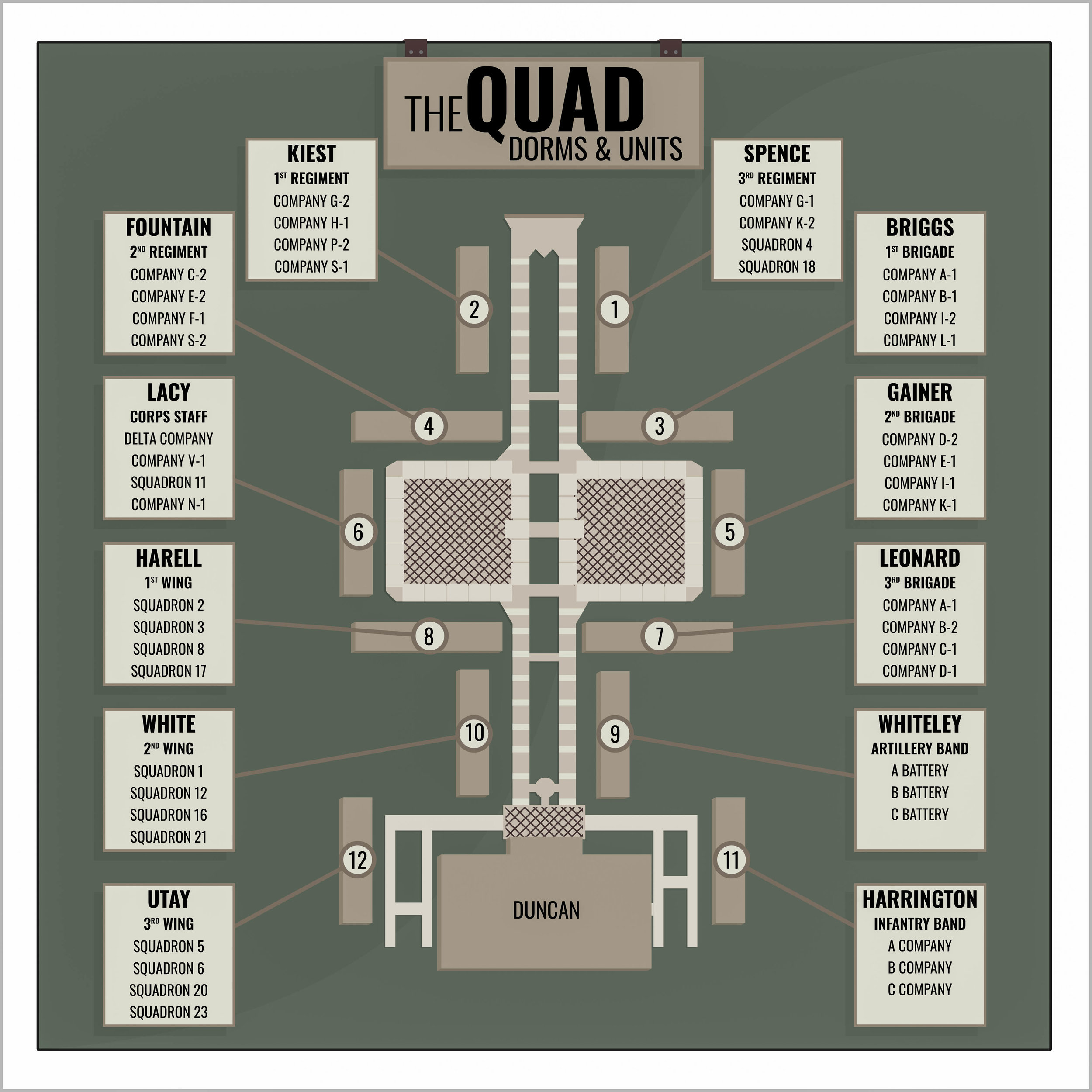 The Quad, short for Quadrangle, includes 12 dorms and Duncan Dining Center — a dining location for both Corps and non-reg students.   Graphic by Nic Tan.