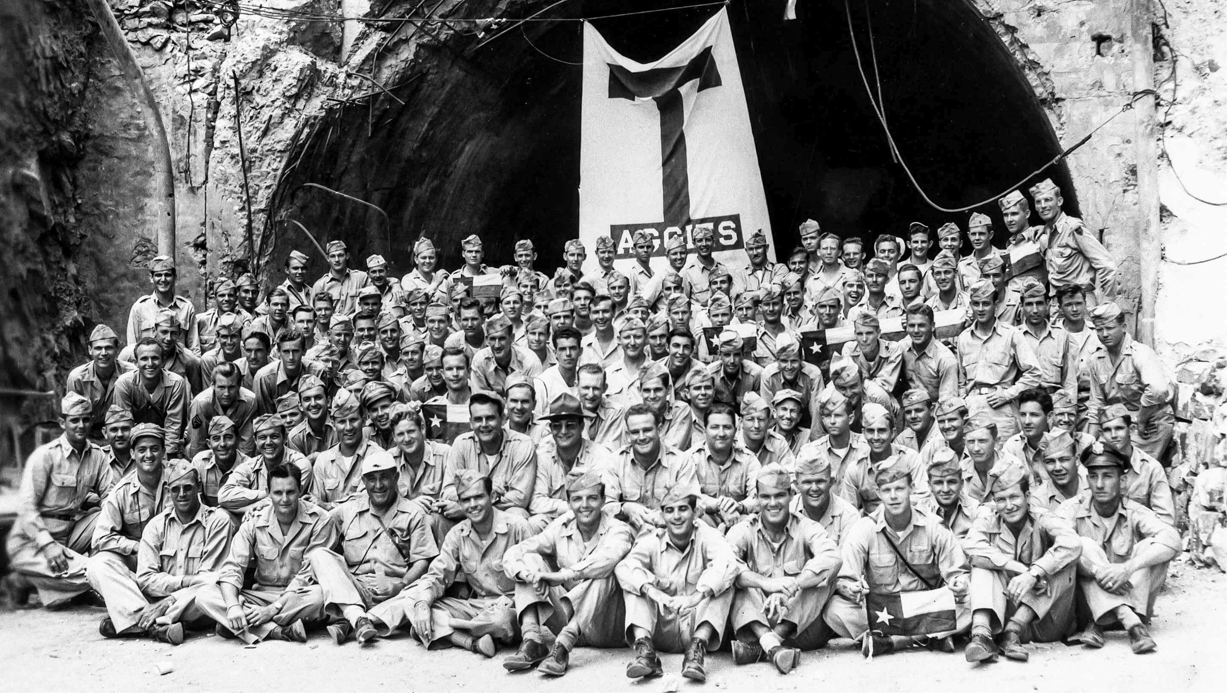 """In 1946, Aggies held Muster at the mouth of the Malinta Tunnel on the island of Corregidor to honor those who lost their lives defending the island in 1942.  Pg. 216, """"Texas Aggies Go To War"""""""