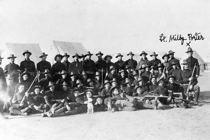 """The first Texas volunteers of Company A were stationed at Camp Cuba Libre in Jacksonville and included Aggies such as Commander Capt. George McCormick (center left).  Pg. 19, """"Texas Aggies Go To War"""""""