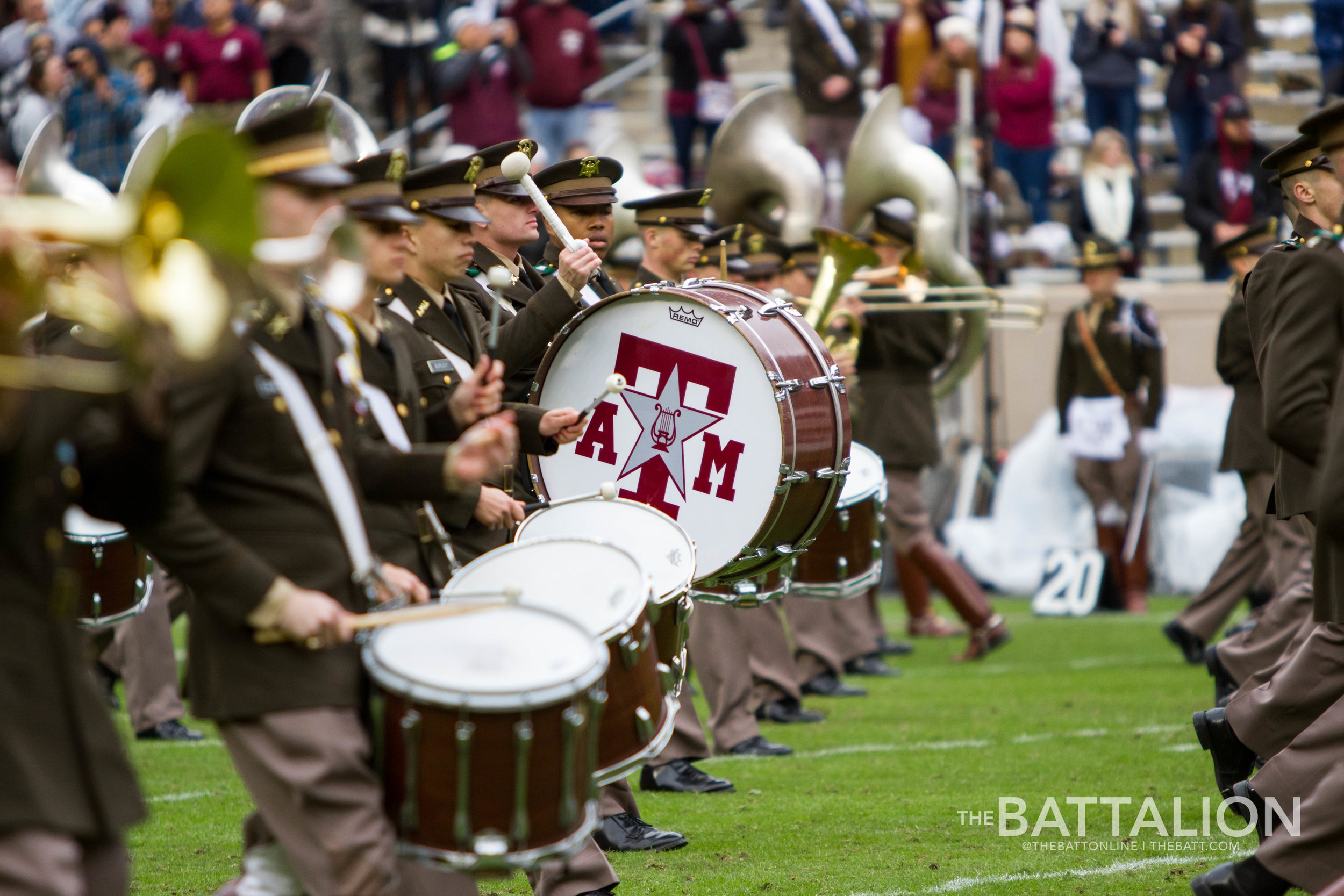 During the Fall semester, the Aggie Band wakes up around 5am each morning to practice halftime drills.  Photos by Meredith Seaver