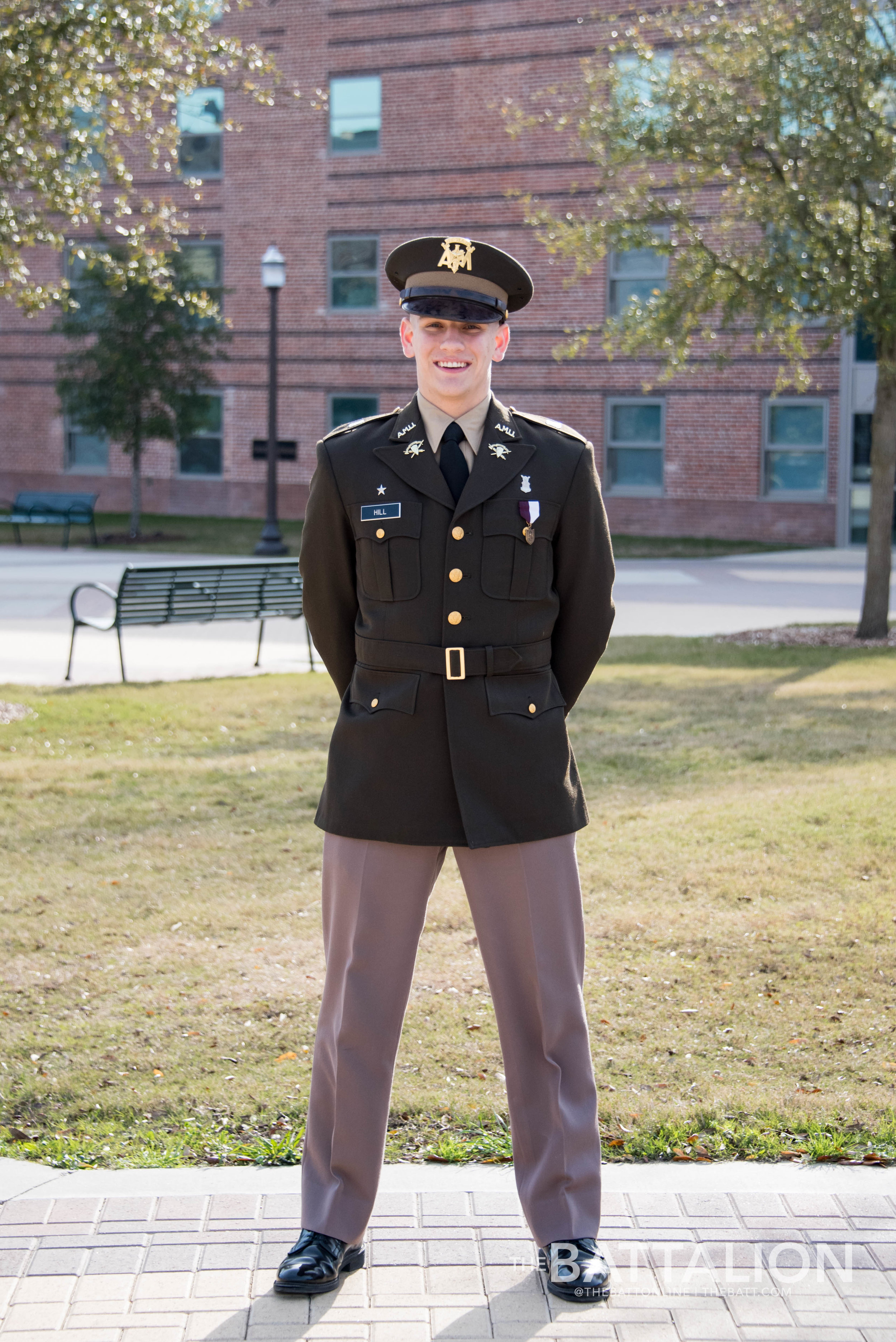 Class A Uniform - Also known as A's, these uniforms are worn to special occasions such as Muster or Silver Taps. Freshman Mark Hill, photographed by Cassie Stricker.
