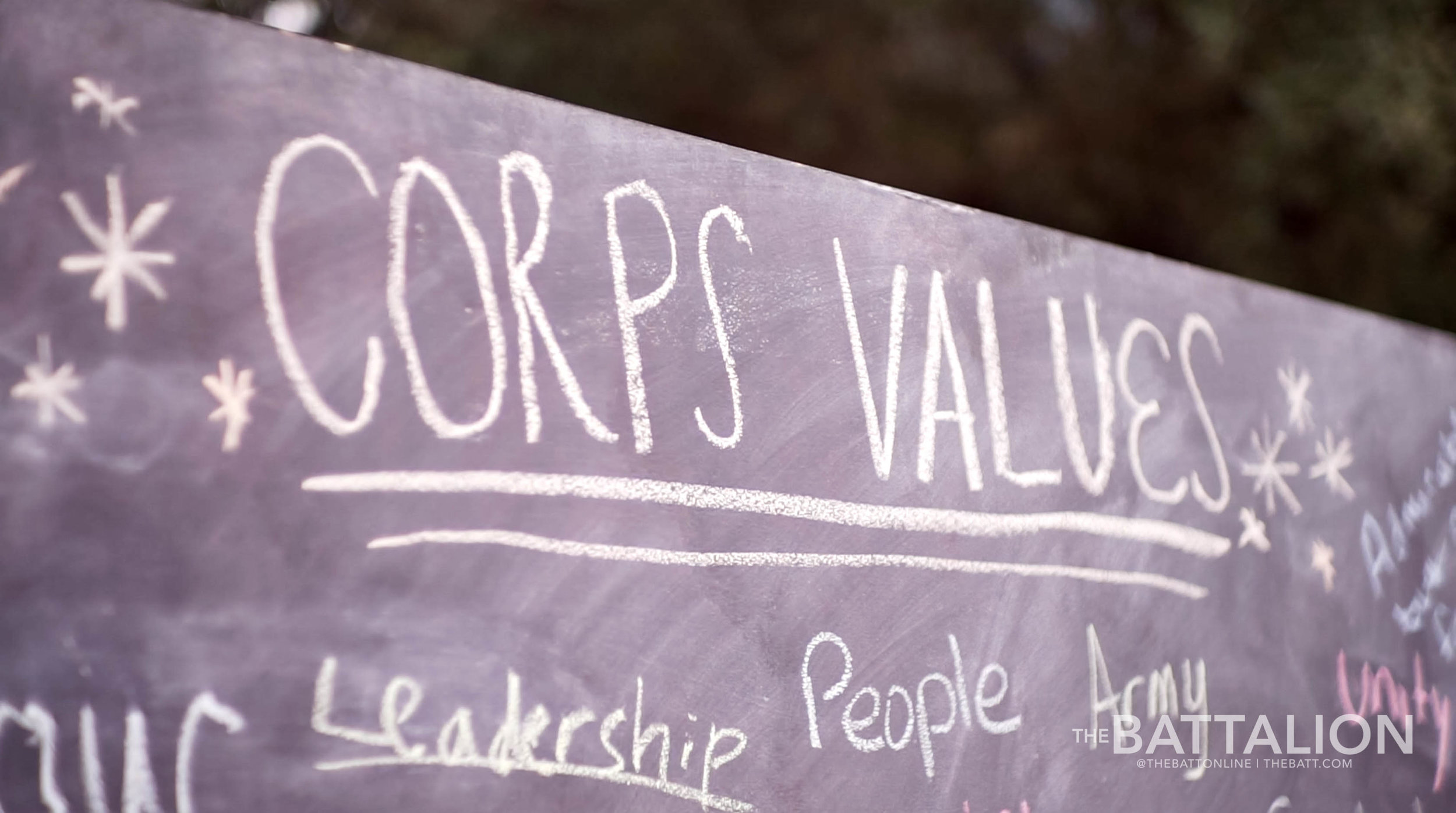 Students were asked to write what comes to mind when they think of the Corps of Cadets.
