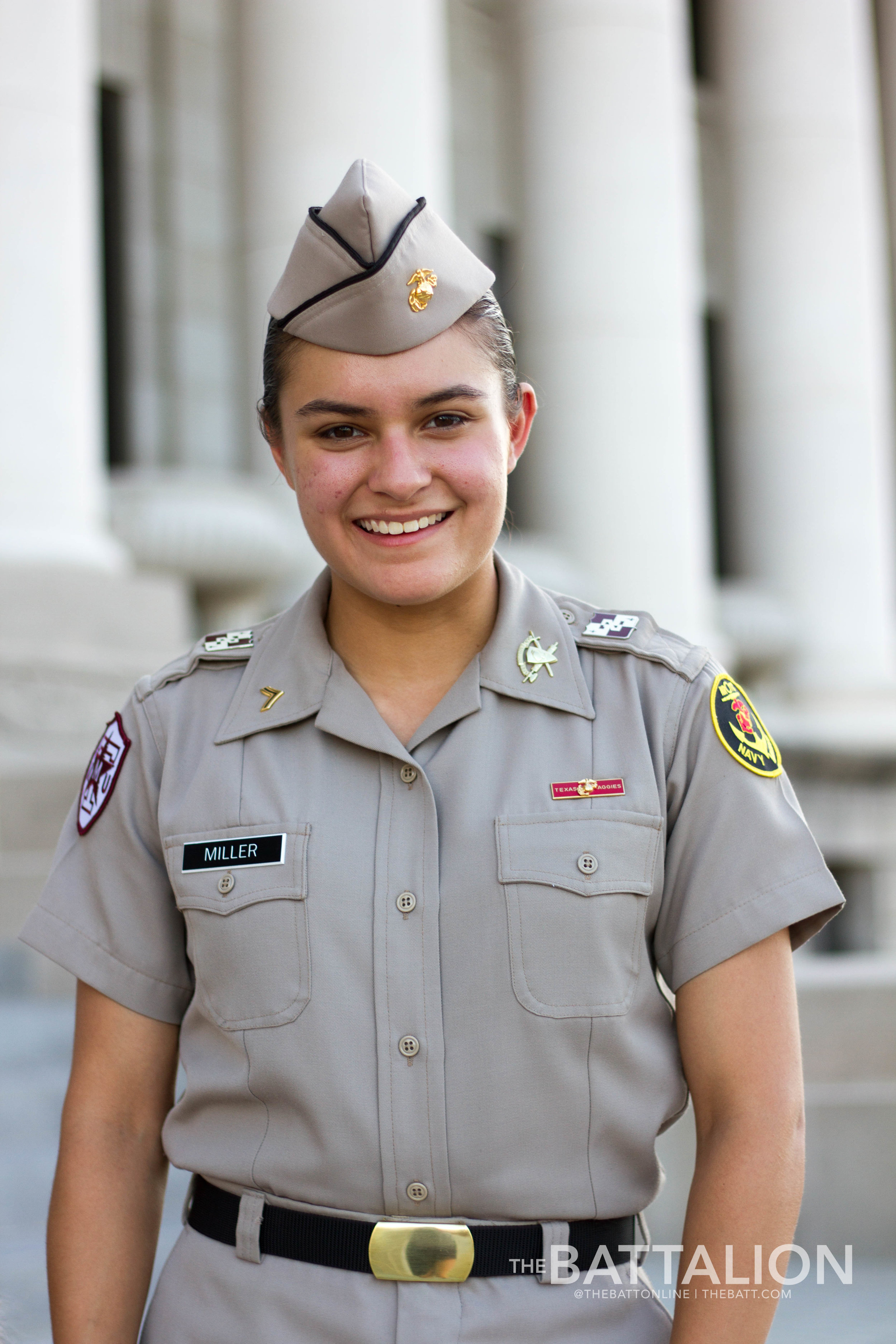 Biology sophomore Mia Miller was named Mascot Corporal in April of 2018. She is now preparing to pass the leash along to her successor.   Photo by Meredith Seaver.