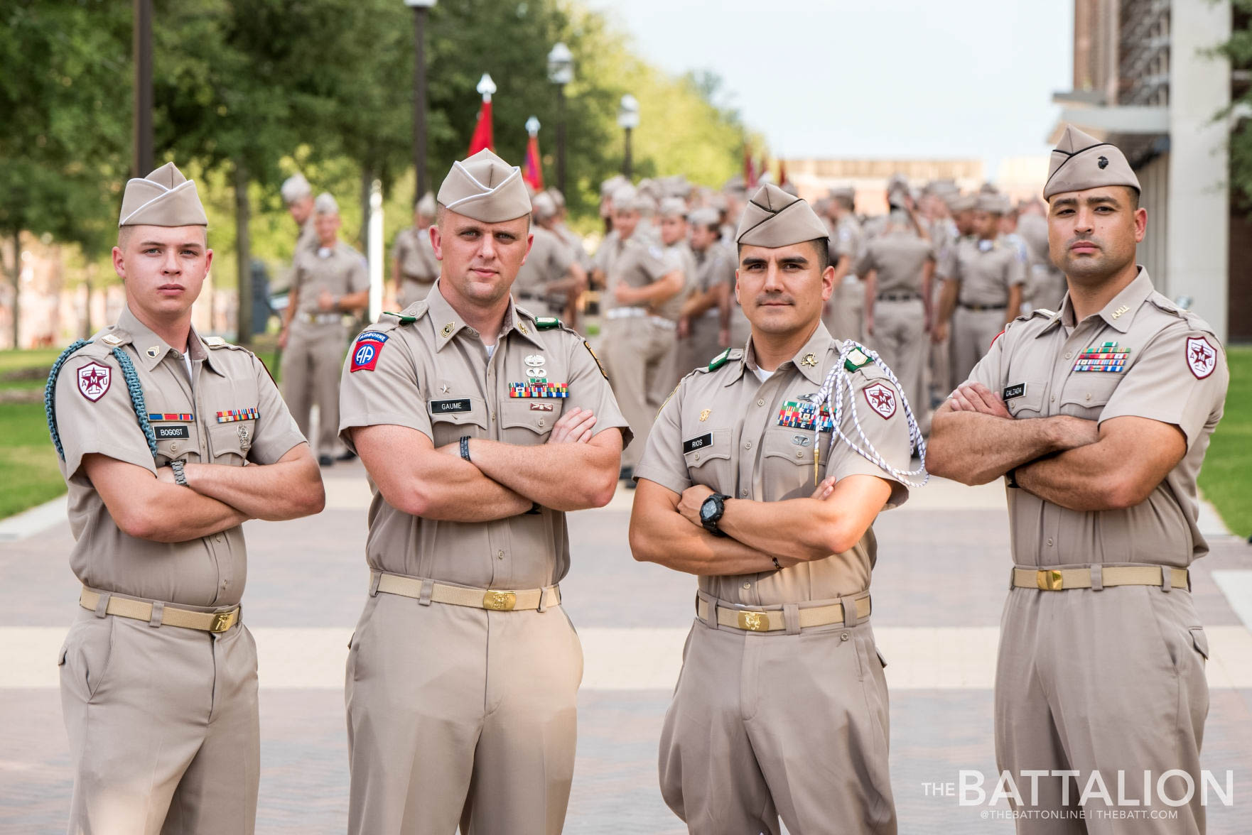 Junior Marine veteran  Derrick Calzada , junior Army veteran  Patrick Gaume , senior Navy veteran  Ennis Rios  and junior Army veteran  Nikolas Bogost  are in Delta Company.   Photo by Cassie Stricker.