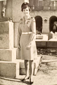 Ruth Ann (Schumacher) Burns, Class of 1977, was the first woman to commission upon graduation from the Corps of Cadets.   Provided.