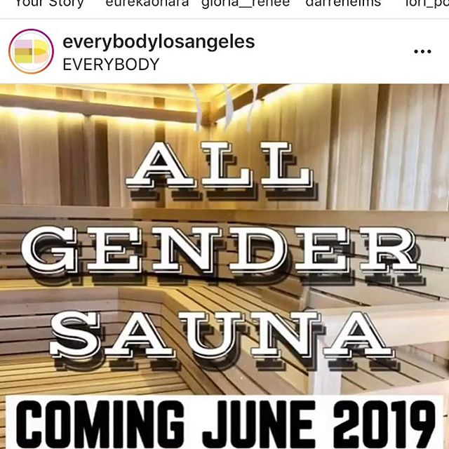 Congrats to EVERYBODY gym on their all gender sauna. A concept that should not seem revolutionary...but is. Can't wait to check it out. #happypride #allgenders #lgbtqnutrition