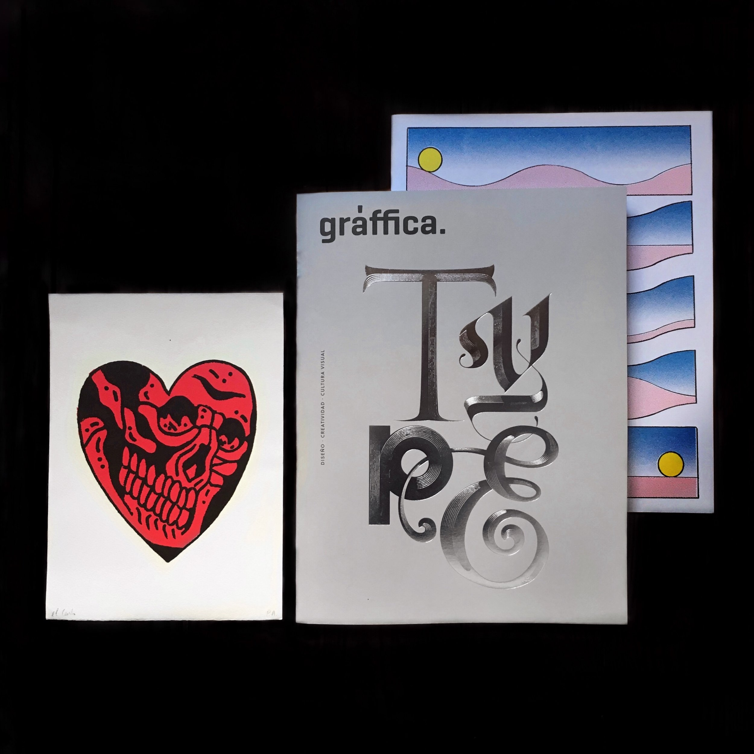 Haul from  Fat Bottom Books  and  Laie , [From left to right] Heart Screen Print by  El Carlo Tattoos ,  Gràffica  Tipografía Issue,  Relatives  by  Antoine Orand