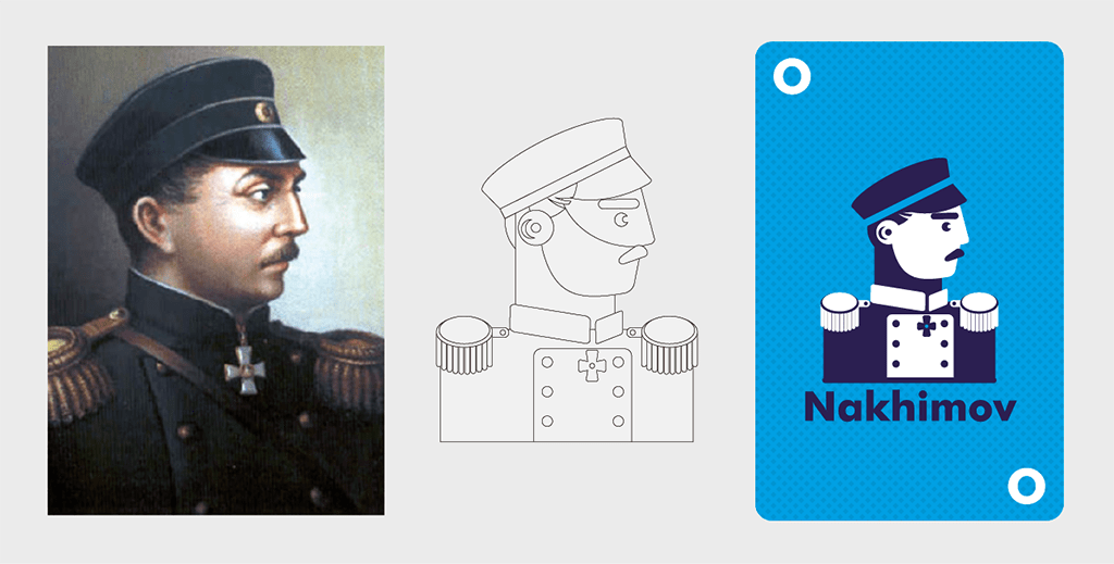 Process of creating a vector graphic of Russian admiral Nakhimov from the reference