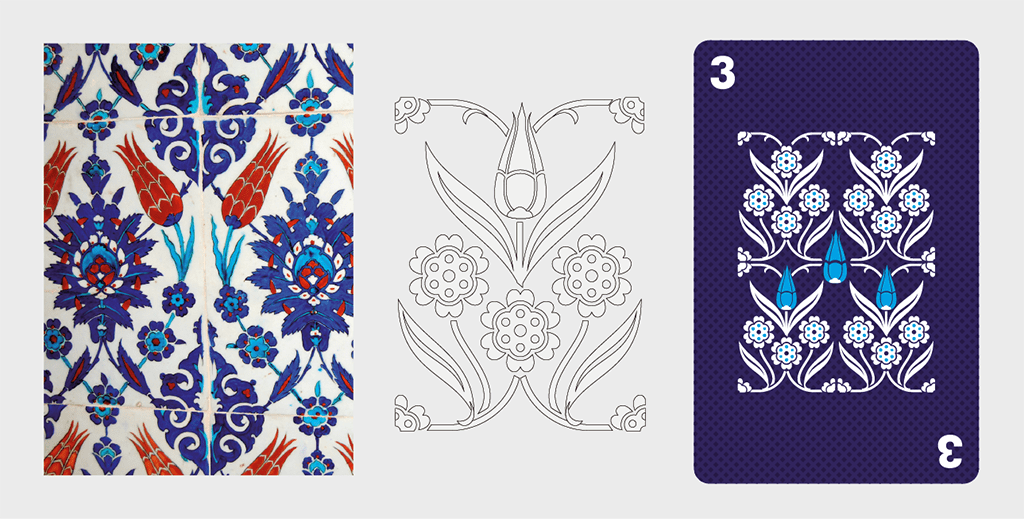 Process of creating a vector graphic of Turkish traditional pattern from the reference