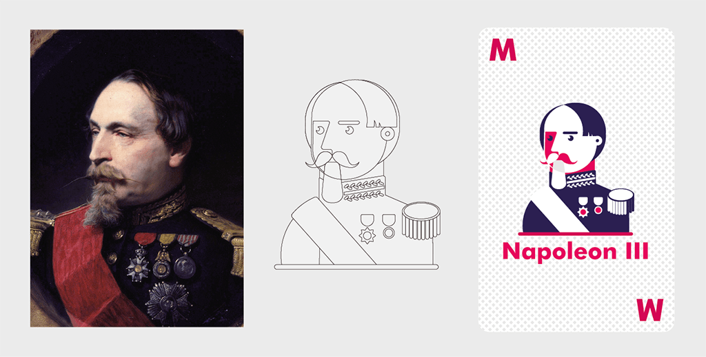 Process of creating a vector graphic of the French emperor Napoleon III from the reference