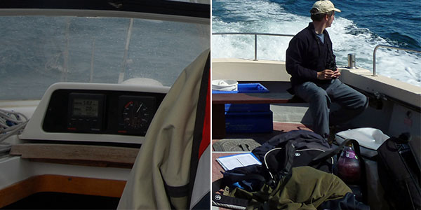 Working space photos: devices measuring location, depth, etc.; back packs, clothes and personal stuff piled on the boat.