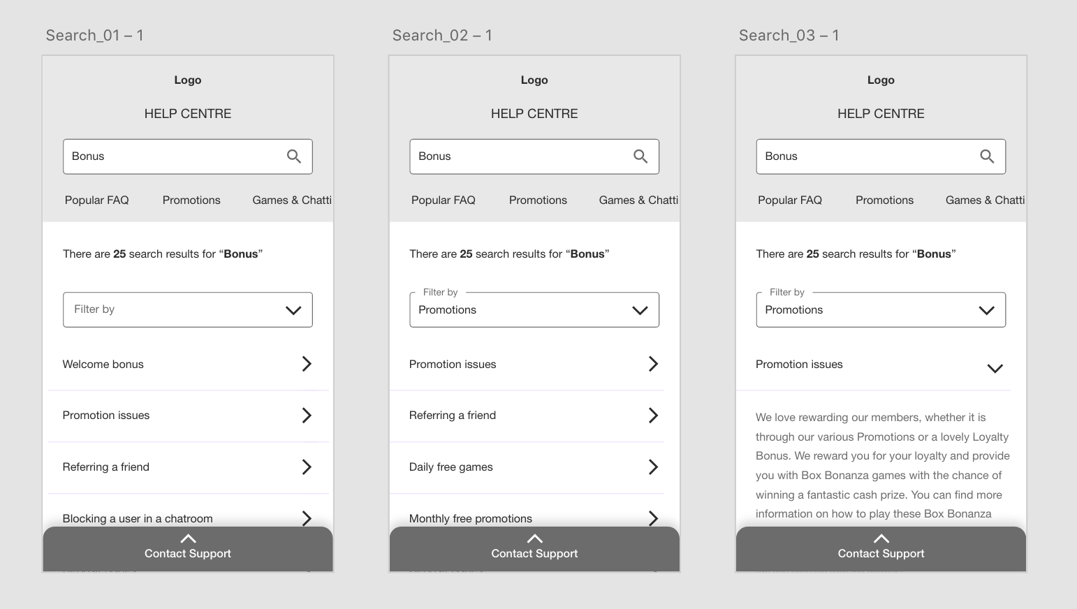 Example of a few mobile wireframes