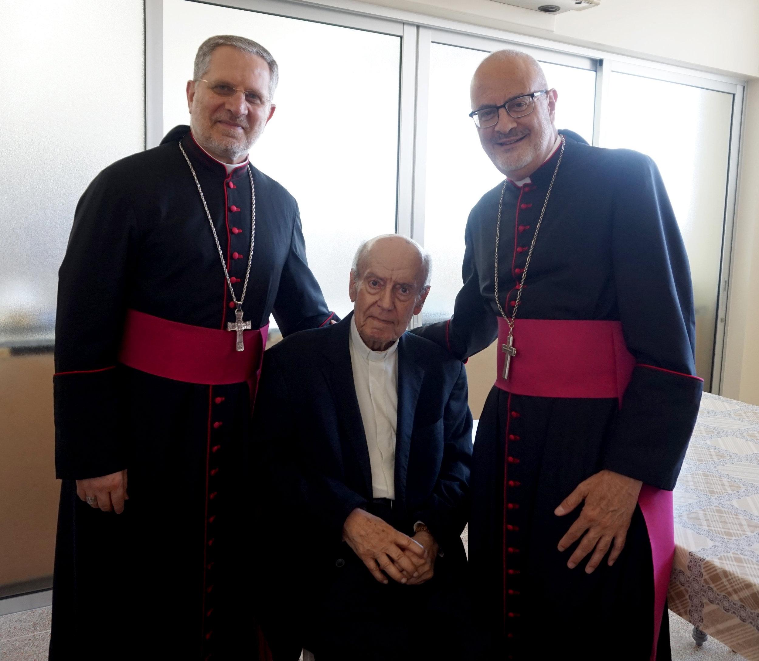 Bishop Michel Aoun (Jbeil Eparchy) and Bishop Gregory Mansour with Monsignor Sami Hayek in Lebanon, Summer 2019.
