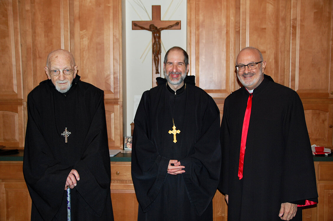 (Left to Right) Abbot Emeritus William Driscoll, Abbot Patrick Kokorian and Bishop Gregory Mansour after Divine Liturgy.