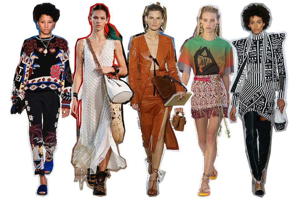 From left to right: Etro, Loewe, Altuzarra, Chloé and Balmain.