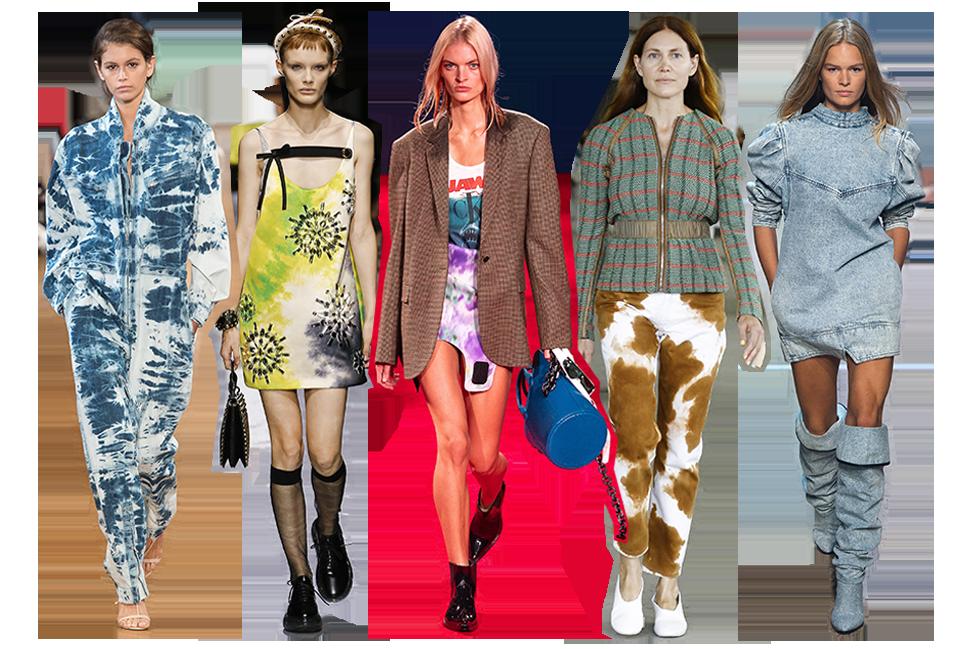From left to right: Stella McCartney, Prada, Calvin Klein, Eckhaus Latta and Isabel Marant.