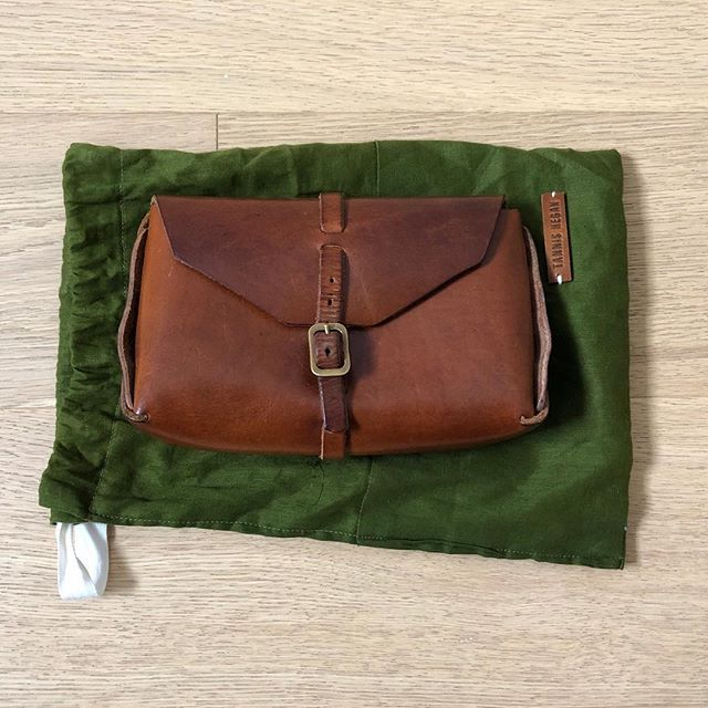 "ITEM: Tannis Hegan Small Leather Case COLOR: Brown CONDITION: Great; some patina but only worn 2-3 times; comes with dust bag PRICE: $100 gifted, shipped MATERIAL: Unlined leather MEASUREMENTS: 7"" L X 4"" H X 2"" D SELLER: @grandmajade  PROTOCOL: Please tag me and leave your zip code to purchase. Item goes to first zip code listed. Please PayPal me via gift. If there are backups for this item I will move onto them after 3 hours."