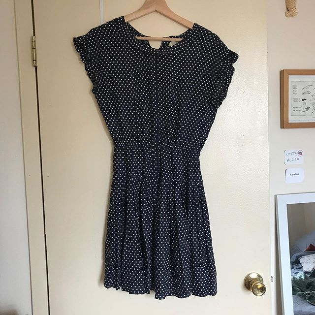 """SIZE: 2  PRICE: $48 (originally $188)  BRAND / ITEM NAME: ALEXA CHUNG X MADEWELL BETTY TEA DRESS (BLUE)  CONDITION: perfect used condition, no flaws, cutest polka dot silk dress with very special details  SHIPPING: $10  MATERIAL: 100% silk!  MEASUREMENTS: Falls 36 1/8"""" from shoulder, 16"""" W on top  SELLER: @lotte_mari  PROTOCOL: Please tag me and leave your zip code to purchase. Item goes to the first zip code listed. Please DM me your PP email so I can invoice you.  The listed price includes Paypal Invoicing. PLEASE NO GIFTING. If there are backups for this item I will move onto them after 3 hours of sending invoice. HASHTAGS (#nb__):"""