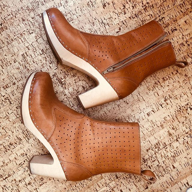 """SIZE:41 PRICE:175 BRAND/ ITEM NAME: Swedish Hasbeens perforated leather boots CONDITION:great. Worn a handful of times. A few minor scuffs but pretty excellent  SHIPPING:10 MATERIAL:leather and wood MEASURMENTS: 3"""" Heel SELLER: @ schnapsattarius  PROTOCOL: please tag me and leave your zip code to purchase. item goes to first zip code listed. please dm me your pp email so i can invoice you. PLEASE NO GIFTING. if there are backups for this item i will move onto them after 3 hours"""