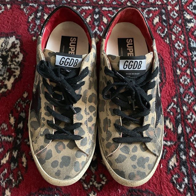 SIZE: 39  PRICE: REDUCED $190  BRAND / ITEM NAME: Golden Goose Superstar  COLOR: leopard print with black patent details  CONDITION: worn once, these are made to look worn in and distressing/scuffing is intentional, some of the lettering has faded on the back heel tab  SHIPPING: $10 us only (no original box)  MATERIAL: suede, leather, rubber sole  MEASUREMENTS: tts  SELLER: @_kimjam  PROTOCOL: Please tag me and leave your zip code to purchase. Item goes to the first zip code listed. Please DM me your PP email so I can invoice you.  The listed price includes Paypal Invoicing. PLEASE NO GIFTING. If there are backups for this item I will move onto them after 3 hours of sending invoice.  HASHTAGS (#nb__): #nbgoldengoose #nbgoldengoosedeluxebrand #nbggdb