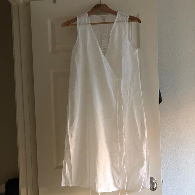 SIZE: XS, fits like a Small  PRICE: $137 shipped (retail $240)  BRAND / ITEM NAME: Eileen Fisher wrap linen tunic  CONDITION: like new  SHIPPING: included  MATERIAL: linen  MEASUREMENTS: ptp 19 (could stretch more), length 39 inch SELLER: @gentlyloved  PROTOCOL: Please tag me and leave your zip code to purchase. Item goes to the first zip code listed. Please DM me your PP email so I can invoice you.  The listed price includes Paypal Invoicing. PLEASE NO GIFTING. If there are backups for this item I will move onto them after 3 hours of sending invoice. HASHTAGS (#nb__):