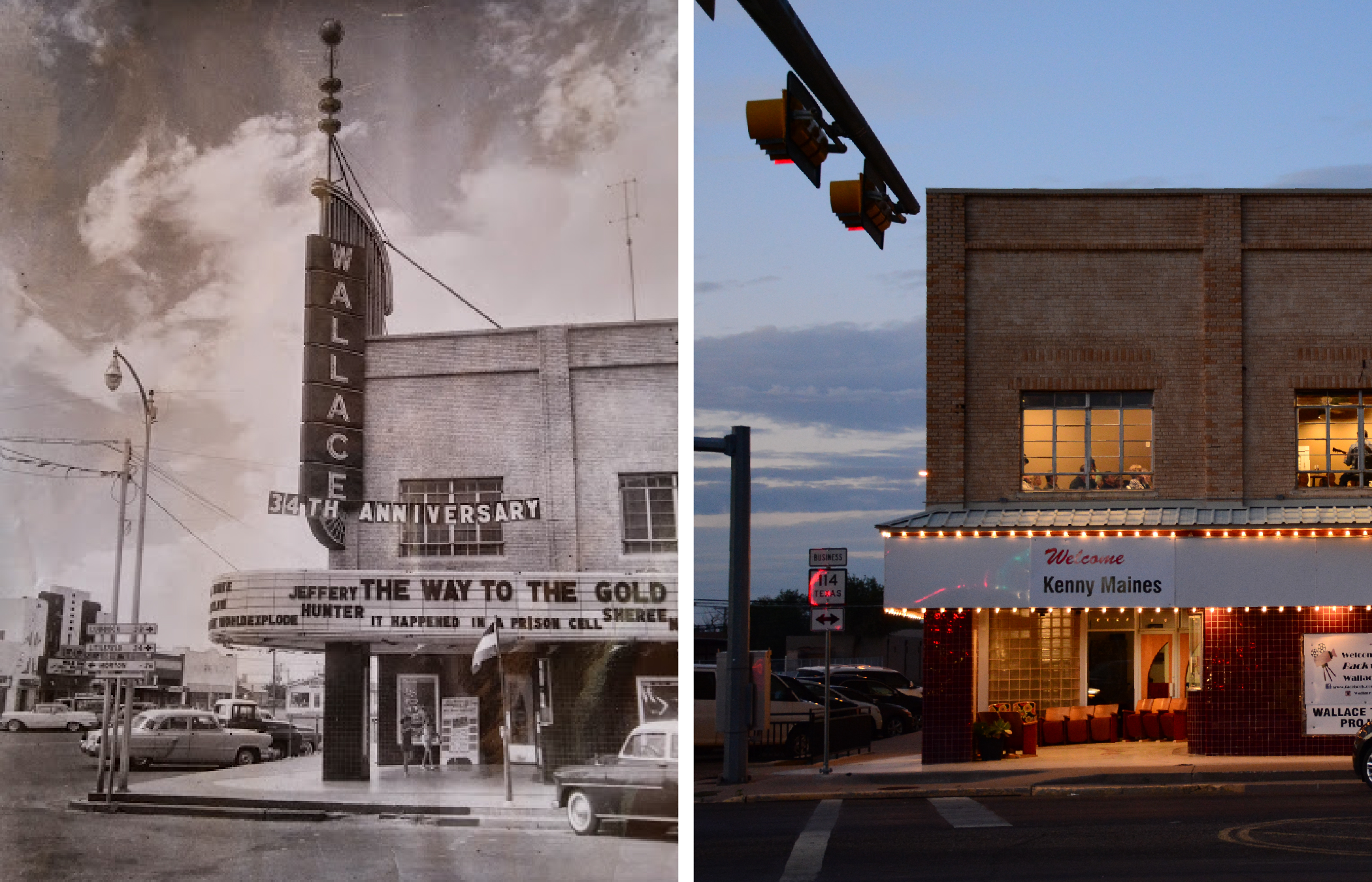 This historic photo (left) shows the original blade sign and letter marquee. On the right is a current photo of the Wallace.