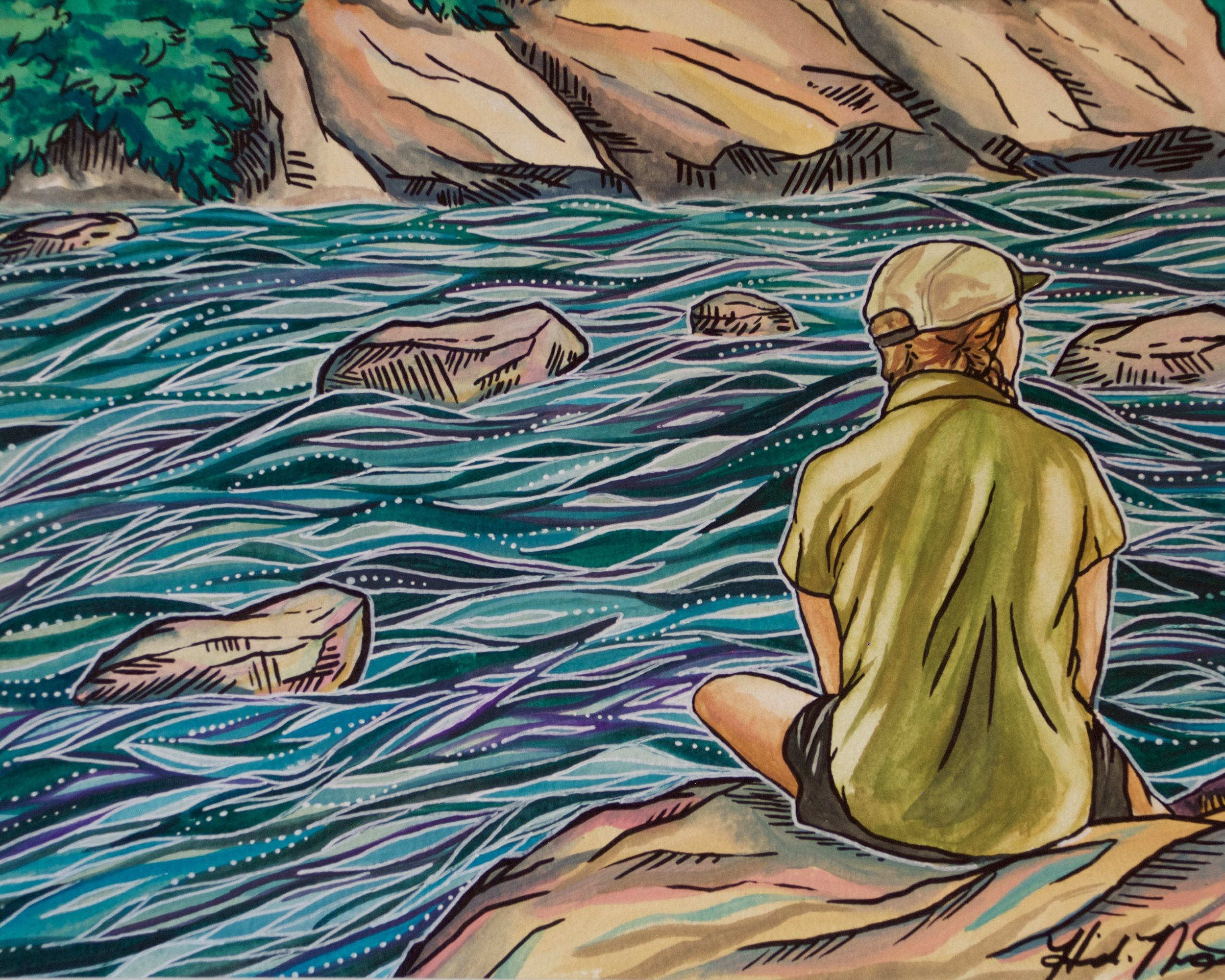 """Day 110- Mandar at Ten Mile River, New York   Watercolor, ink, and gel pen on paper  8""""x10""""  Sold. Prints available upon request."""